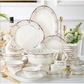 日式餐具 景德镇陶瓷碗盘骨瓷碗筷套装(60头豪华配明火煲)