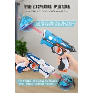 儿童玩具镭射对战枪男孩枪打飞碟打蜘蛛声光红外线感应电动玩具枪