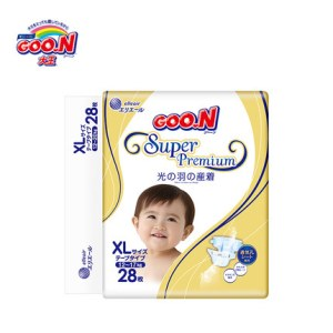 日本大王光羽纸尿裤婴儿XL28大号超薄透气干爽棉柔尿片宝宝尿不湿